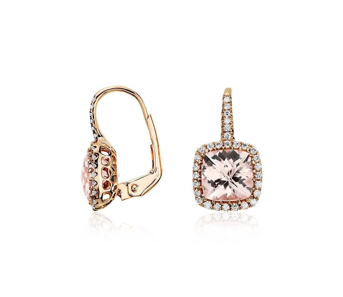 Morganite And Diamond Cushion Drop Earrings In 14k Rose Gold #bluenile  #fashion #jewelry