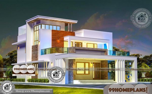 4 Bedroom House Design With Two Story Contemporary Flat Roof Plans