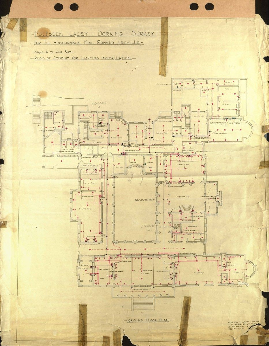 Polesden Lacey Electrical Plan 1935 Ground Floor 9331200 An