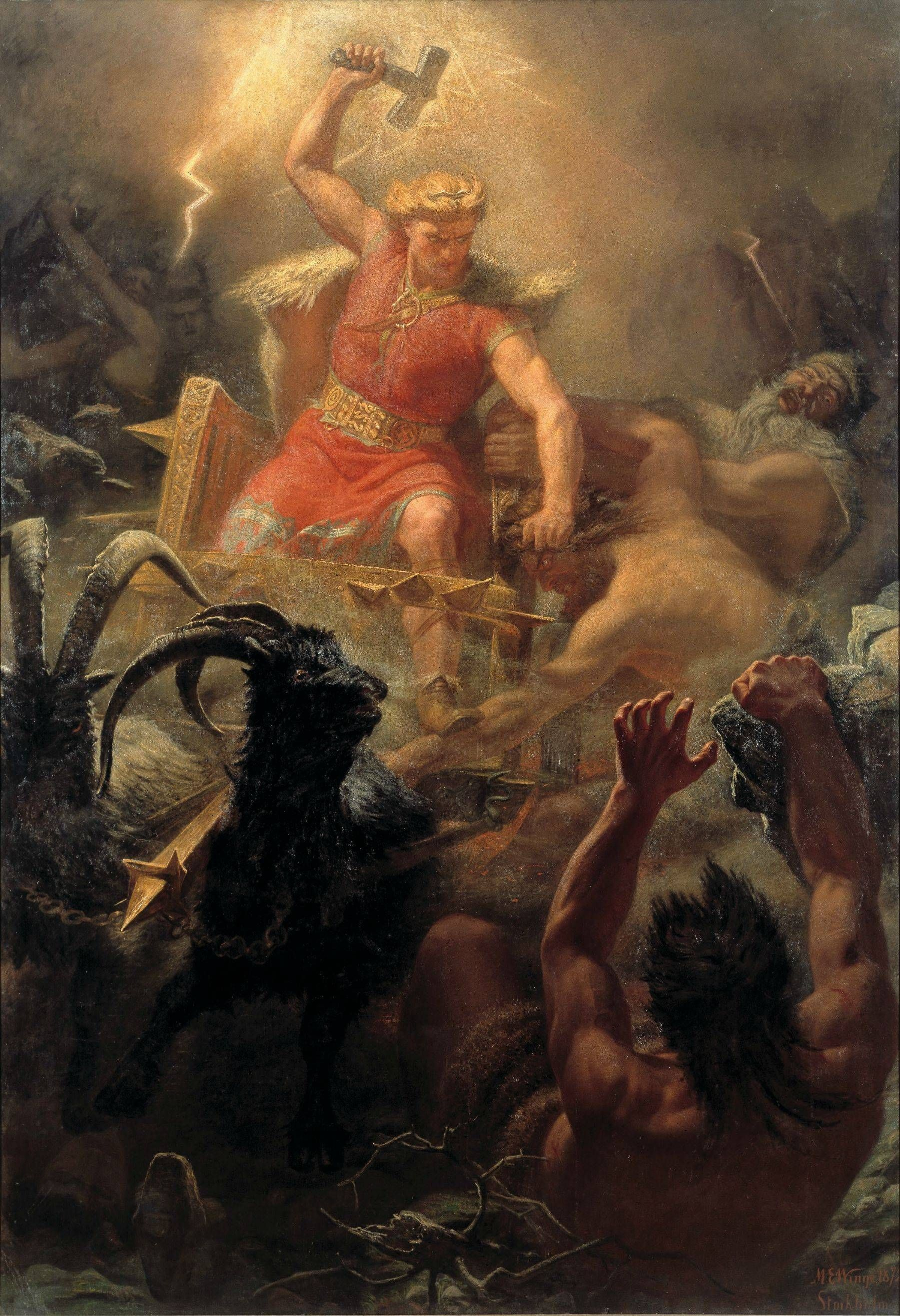 Thor S Battle With The Giants Painting By Marten Eskil Winge 1872 3003x4393 Imgur Thor Norse Norse Mythology Mythology
