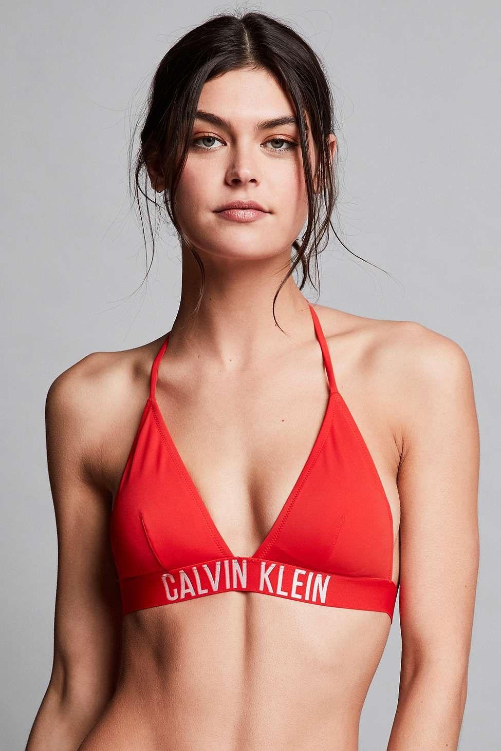 79b7438caf30b Calvin Klein Fiery Red Triangle Bikini Top
