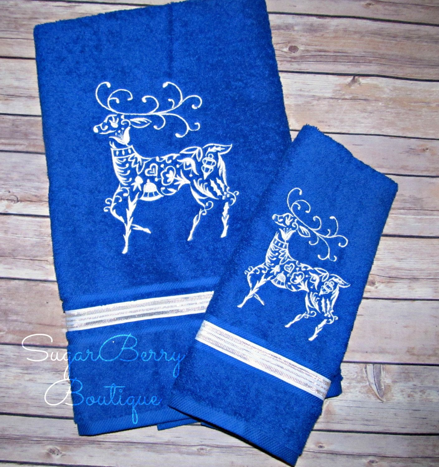 White Christmas Towels Reindeer Towels Holiday Bath Decor