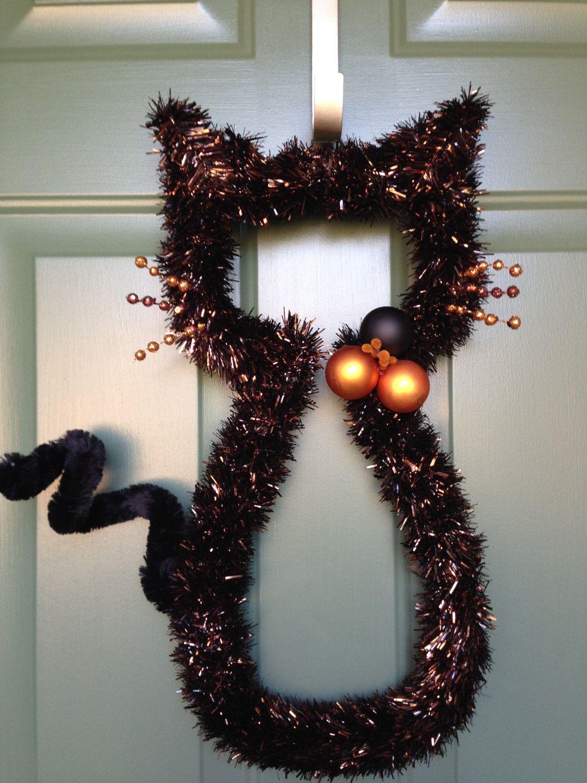 Ready to ship black and orange cat wreath halloween wreath holiday wreaths rubansaba