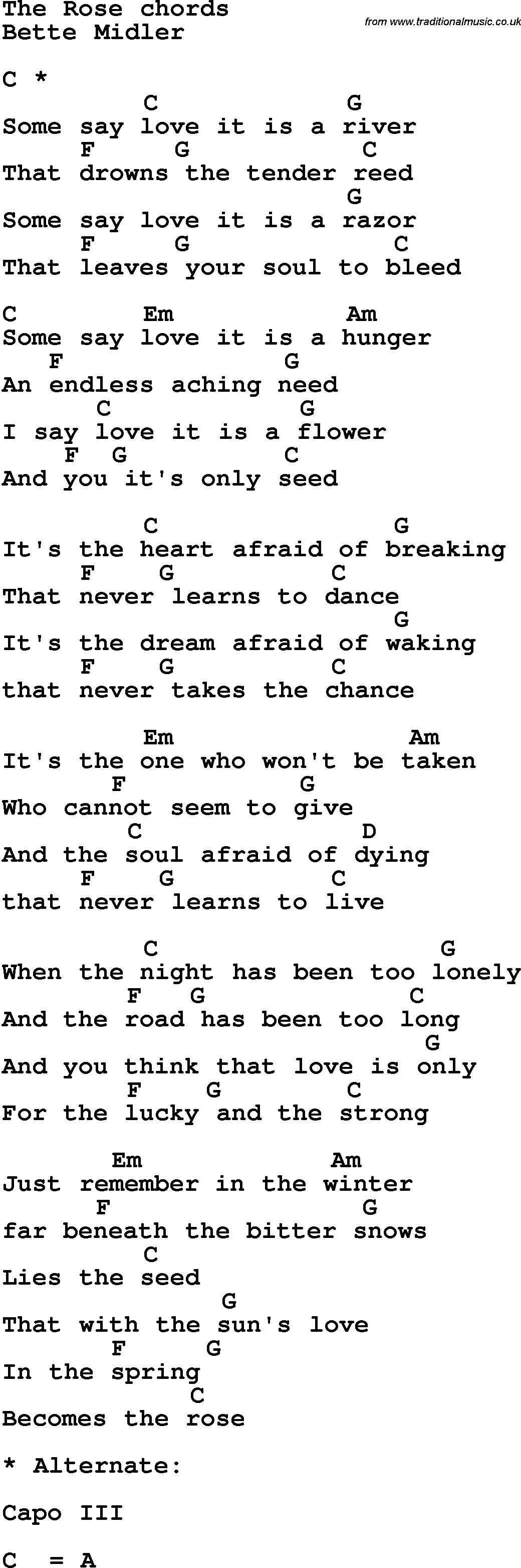 Song Lyrics With Guitar Chords For The Rose Bette Midler Ukulele