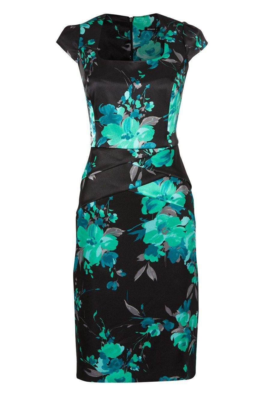 Floral Print Satin Dress - at Roman Originals | Dresses part 06 ...