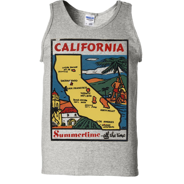 Vintage State Sticker California Asst Colors Tank Top - California Republic Clothes