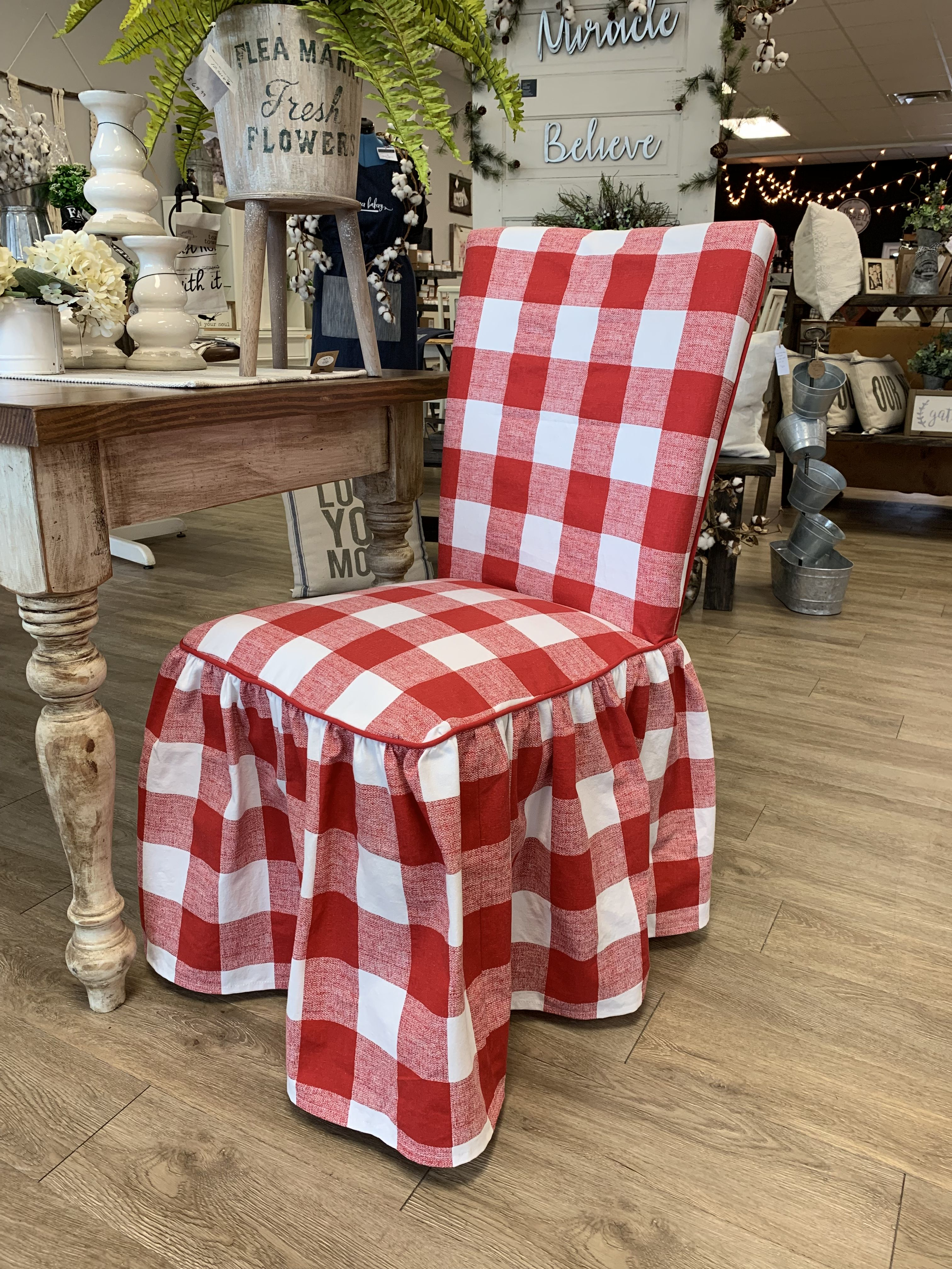 Red buffalo check parsons chair slipcover