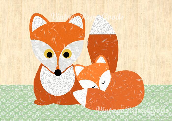 A3 süßer Fuchs mit Baby Fuchs Poster von VintagePaperGoods – GreenNest auf DaW…