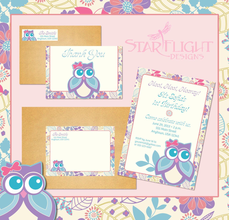 Customized Owl Birthday Invitation Set