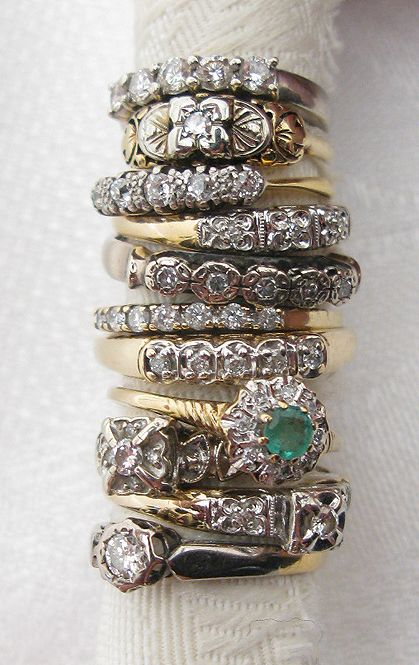 art deco stacking rings Vintage Estate 14K Gold Stack Band w