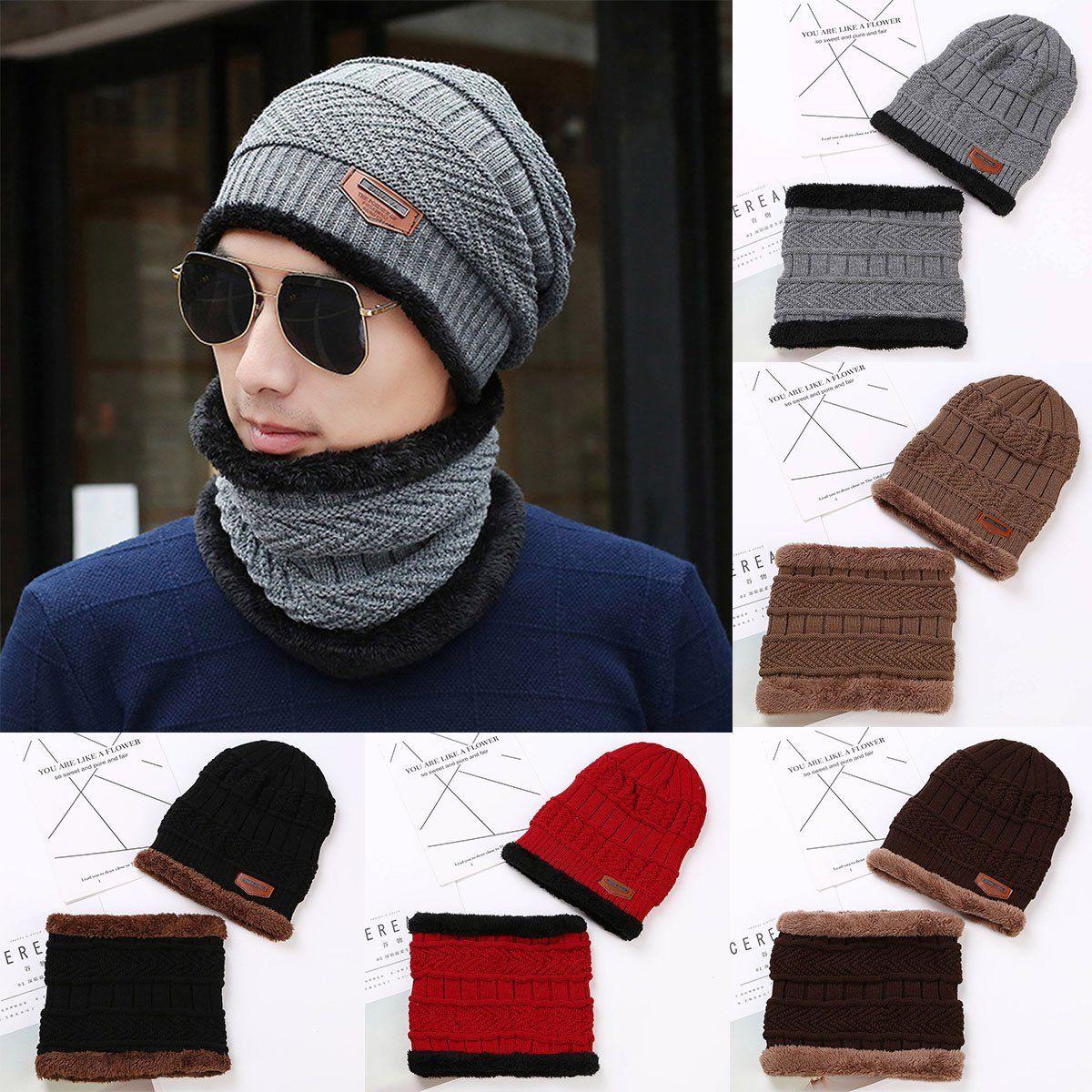Men Women Winter Warm Crochet Wool Knit Skull Hat Ski Cap Baggy Beanie Scarf Set