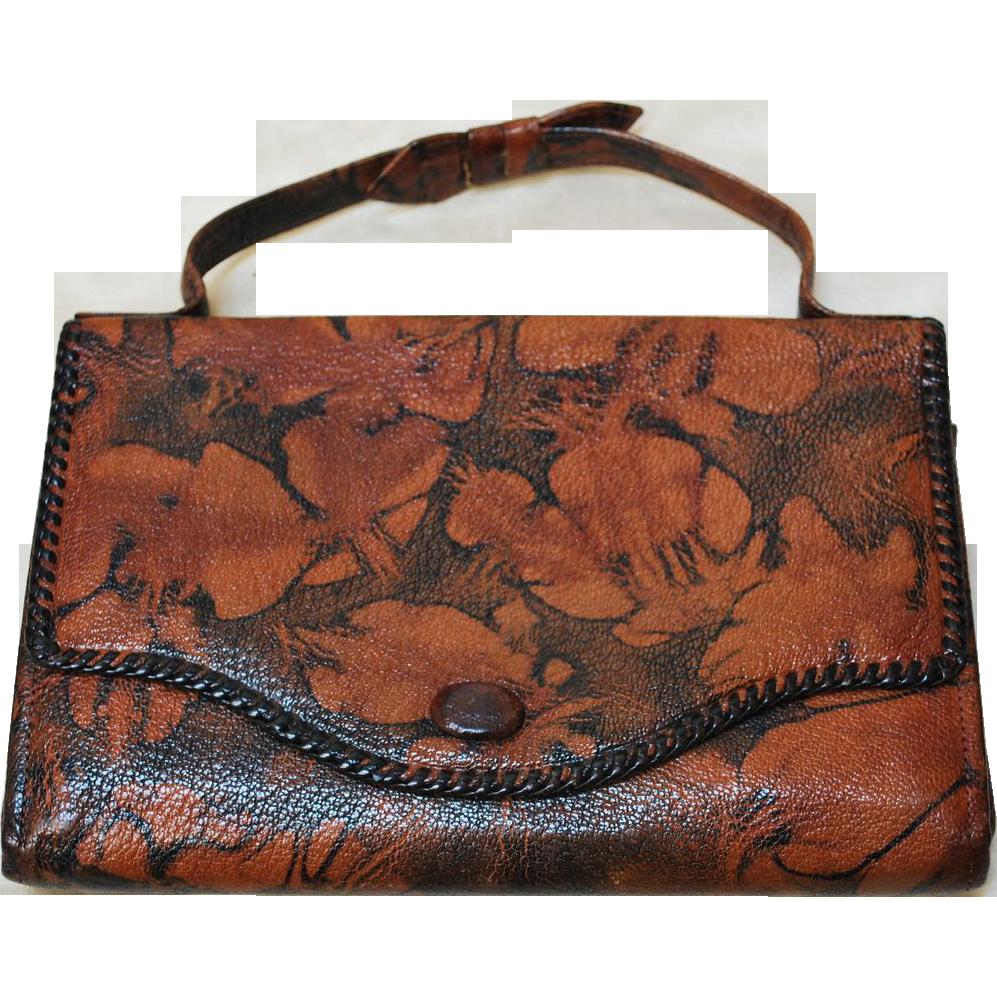 Unusual Vintage 20 S Bosca Built Embossed Purse Leather Handbag From Everydaysagift On Ruby Lane