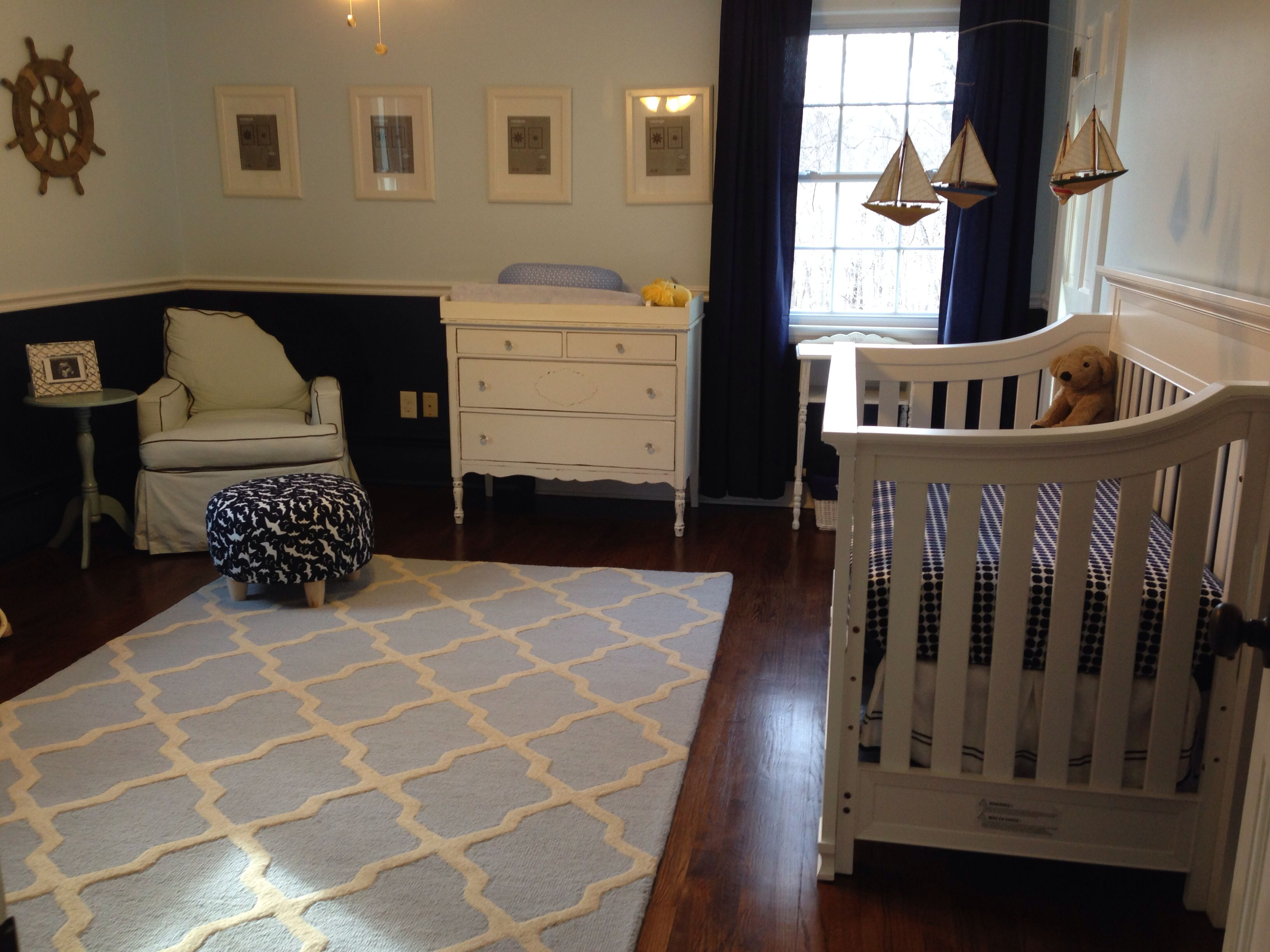 Hudson S Nautical Nursery Navy Blue And Pale Blue Walls Light Blue Trellis Rug From Overstock For Those Interested The Rugs By Safavieh It S The Cambridge