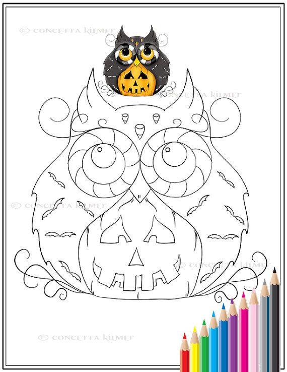 Items Similar To Jack O Lantern Wooty Owl Halloween Fantasy Bird Printable Pdf Coloring Page On Etsy Malvorlagen Vorlagen