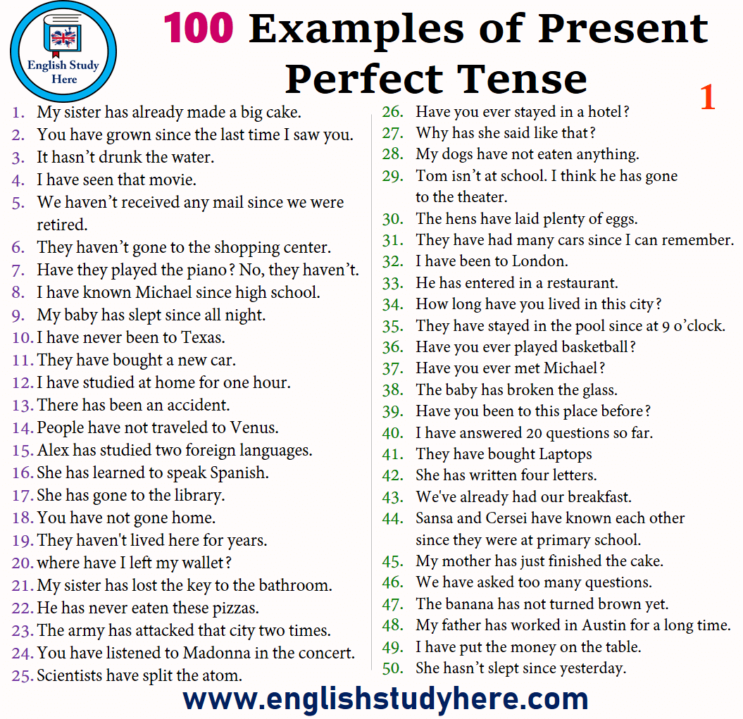 100 Sentences Of Present Perfect Tense