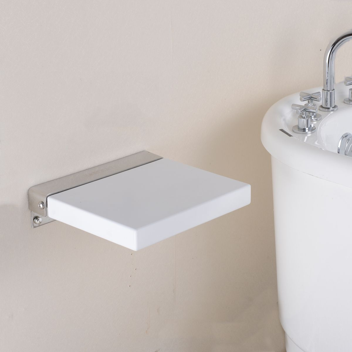 HANEBATH Folding Shower Seat , White - 304 Stainless Steel and ...