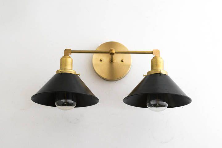 Etsy Wall Sconce Vanity Light Modern Mid Century Gold Bathroom