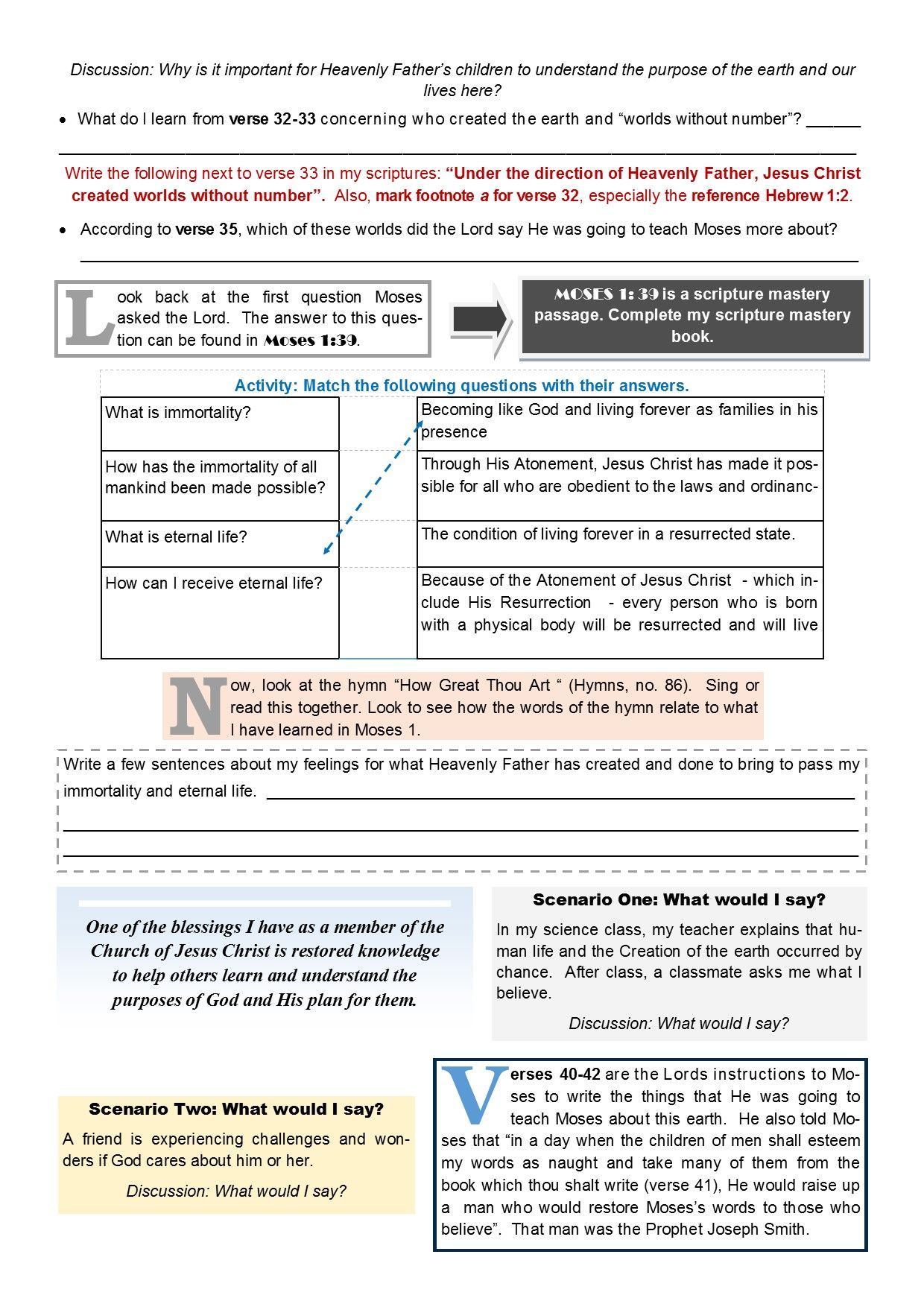 Old Testament Seminary Lesson 7 Worksheet Page 2