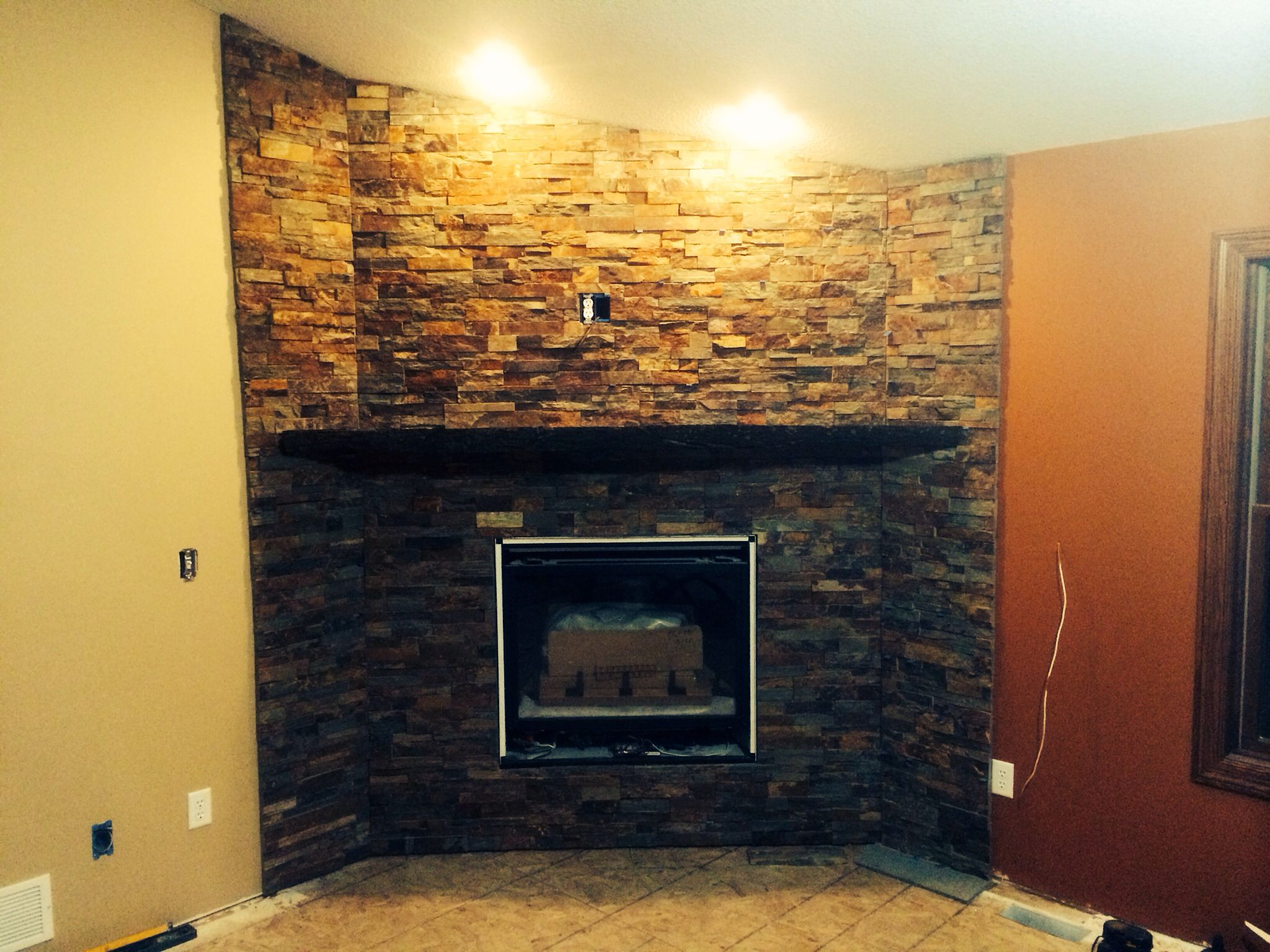 tibetan stacked stone fireplace surround custom tile and stacked