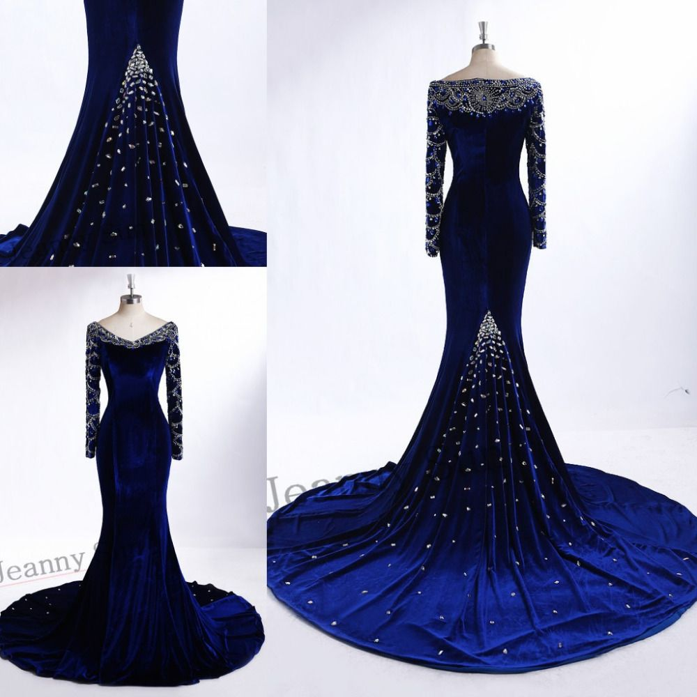 Find more evening dresses information about royal blue velvet
