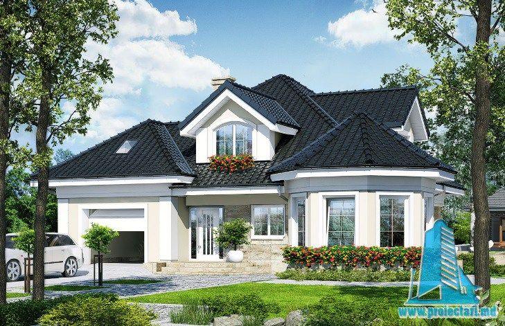 Проект дома с партером, мансардой и гаражом для одного автомобиля 100696  Http://www.proiectari.md/ru/property/proiect De Casa Cu Parter Mansarda Siu2026