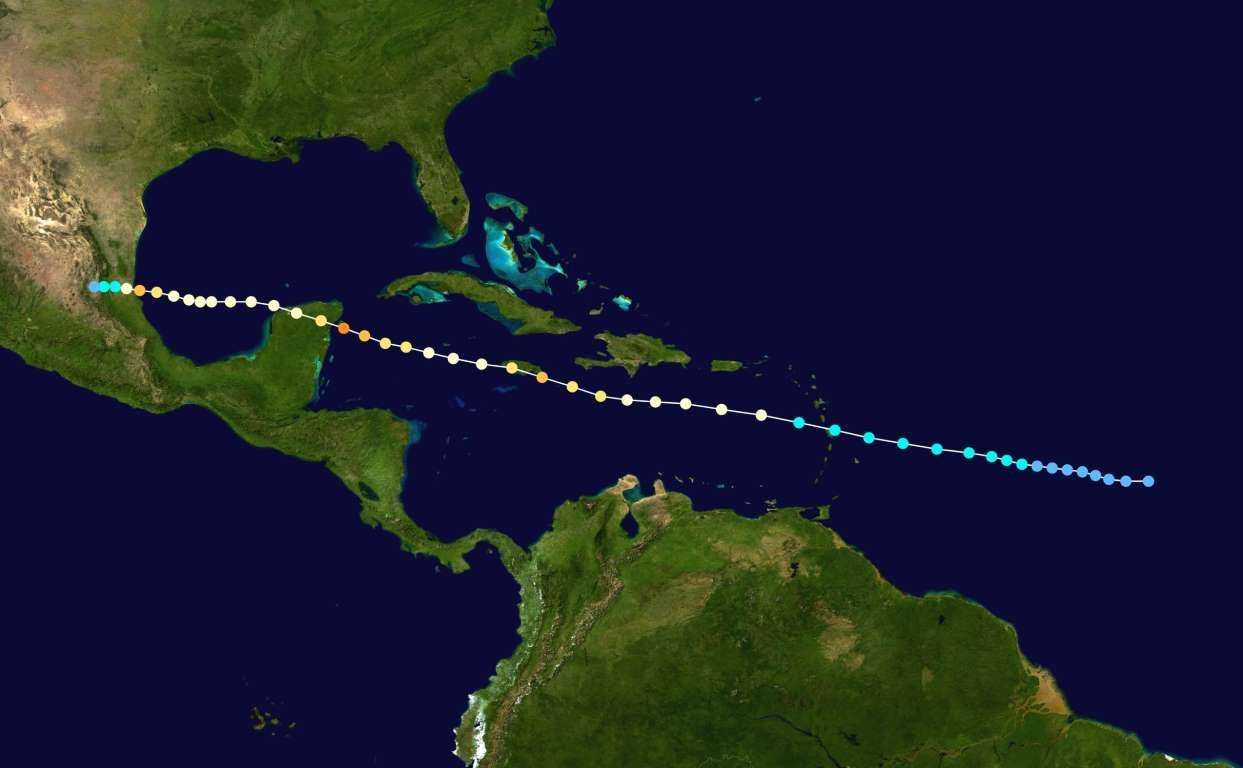 1951 Hurricane Charlie Dates Active August 12 23 Peak Classification Category 4 Sustained Wind Speed 130 Mph Hurricane Lesser Antilles Yucatan Peninsula