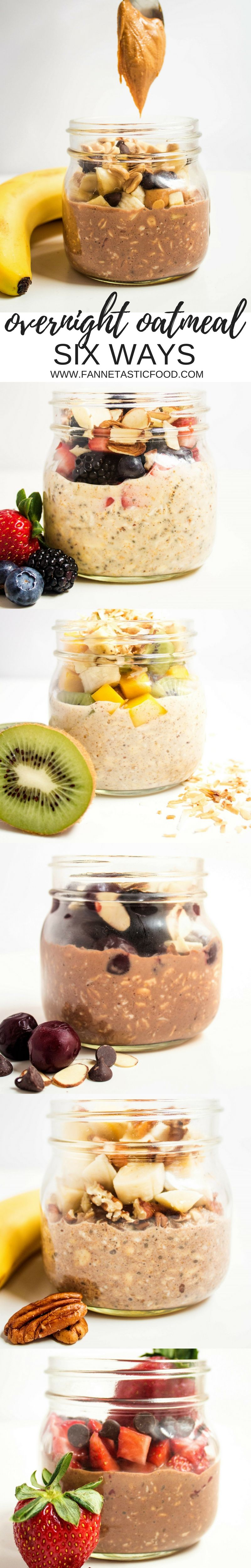 Overnight Oatmeal Six Ways - get the perfect basic overnight oatmeal recipe & six awesome flavor variations! Perfect for a quick, easy, healthy make ahead breakfast.