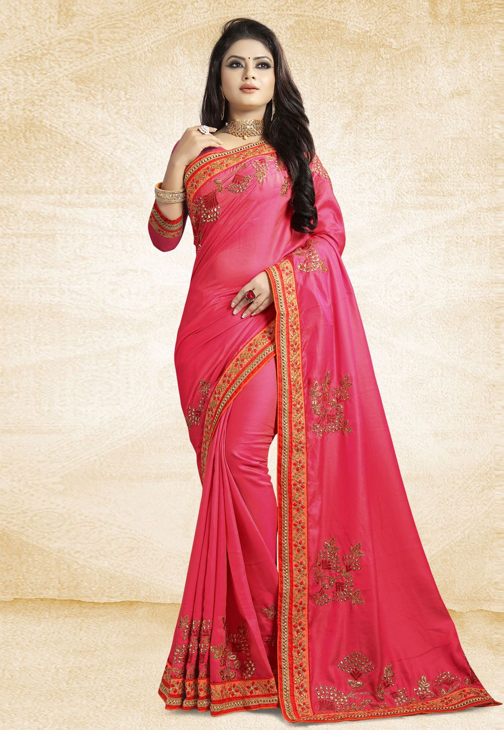 5e5f4535b2 Buy Pink Satin Embroidered Festival Wear Saree 162369 with blouse online at  lowest price from vast collection of sarees at Indianclothstore.com.