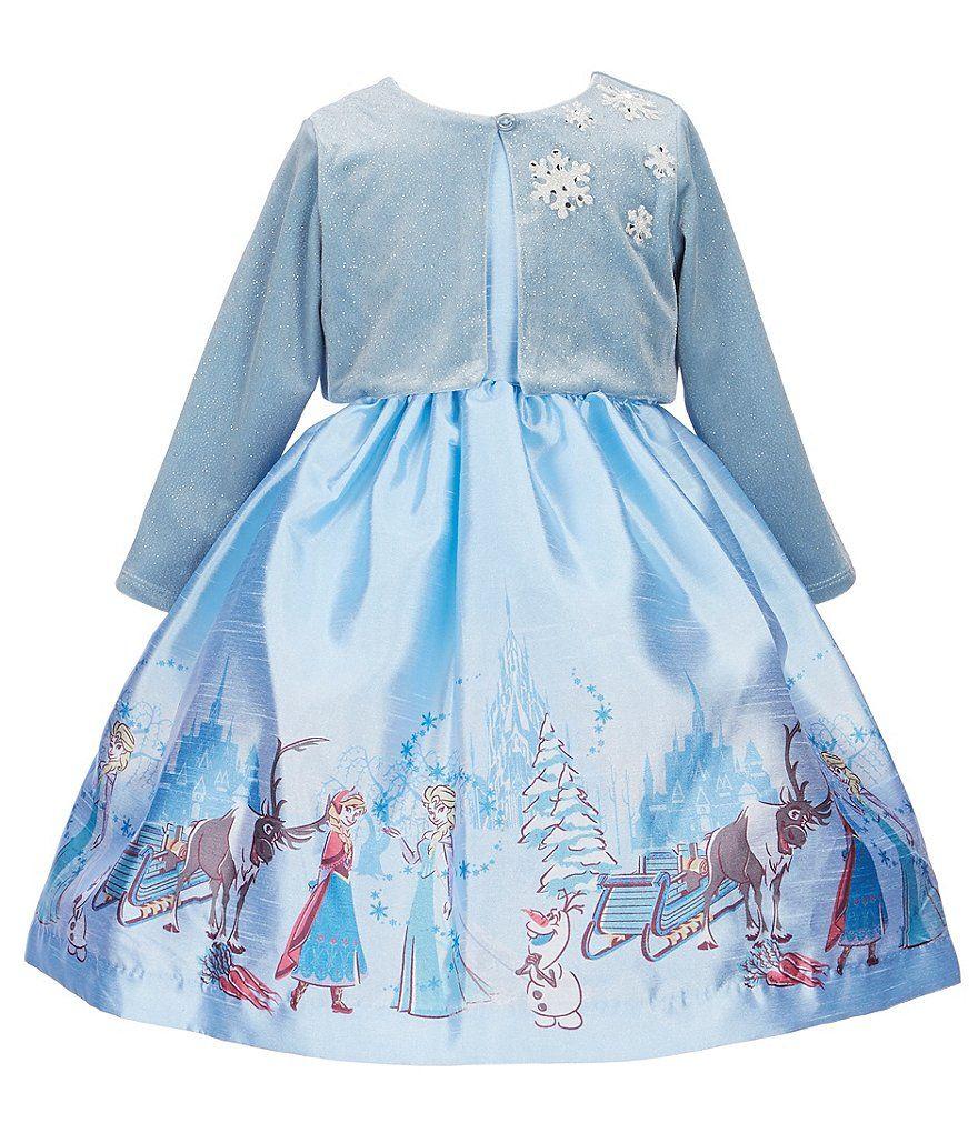 1295d5673ad9 Pippa & Julie Little Girls 2T-6X Disney's Frozen Border-Print Dress &  Cardigan Set