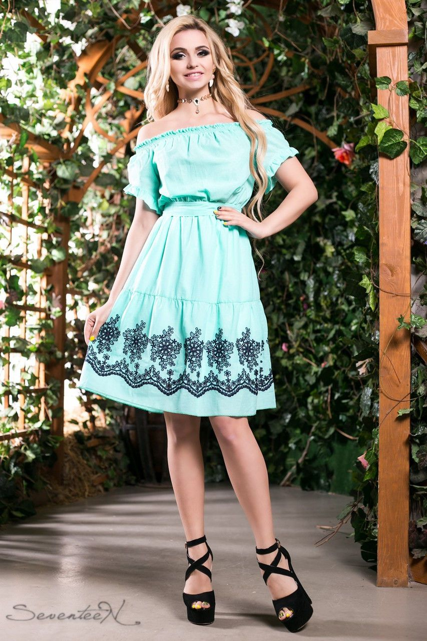 422af5b68a2 Женское нарядное летнее расклешенное платье до колен с рукавами ...