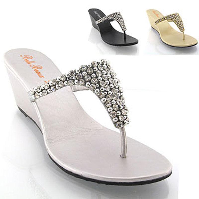 ba9729f97da4e Womens Wedge Diamante Toe Post Ladies Sparkly Dressy Party Sandals Size 3-8   ebay