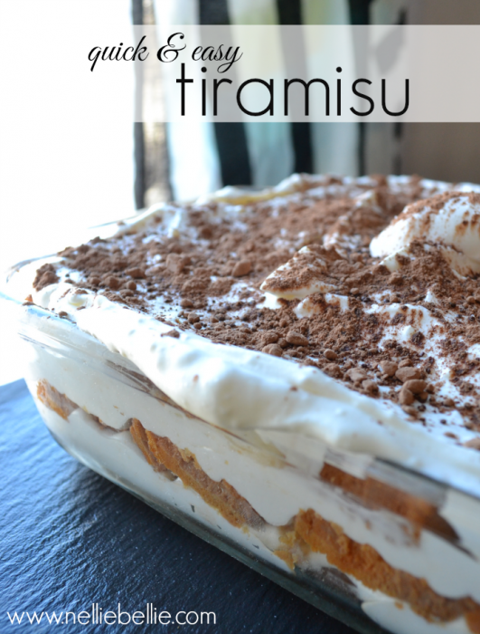 Quick & Easy tiramisu recipe. Made with pound cake and cream cheese makes  this easier