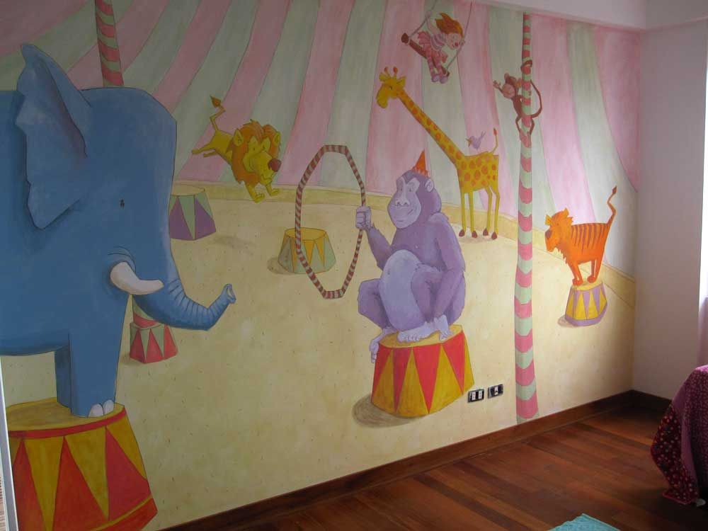 Circus mural my murals pinterest nursery for Circus wall mural
