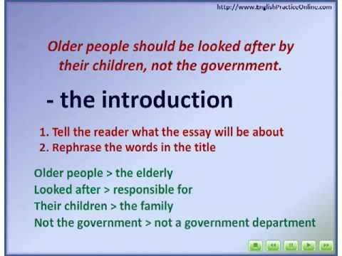 Introduction Paragraph Http Www Youtube Com Watch V Bgcujqvw 8e Essay Writing Help On Elderly People