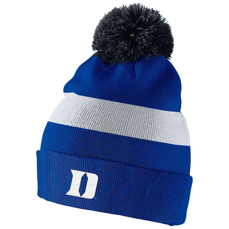 7390c7f3032 Duke Blue Devils Nike Youth Sideline Cuffed Knit Hat with Pom - Royal White