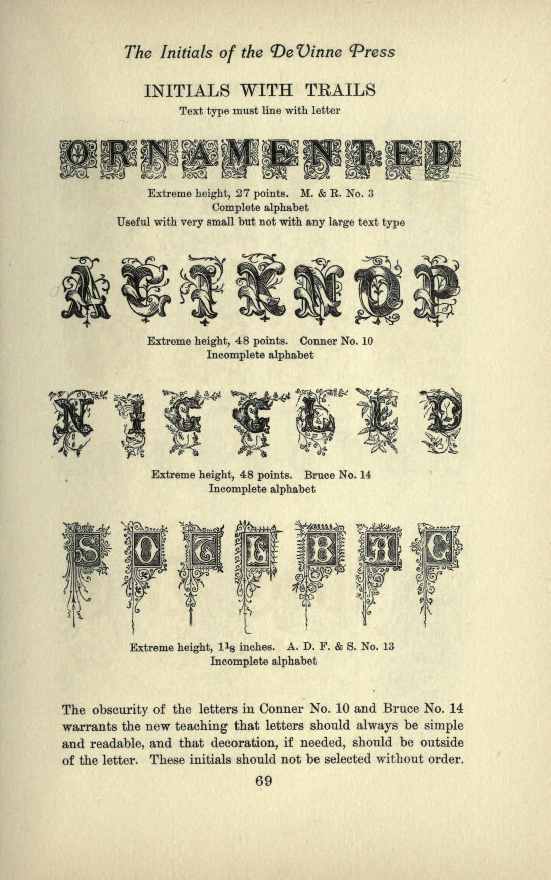 Types Of The De Vinne Press Specimens For The    Letters