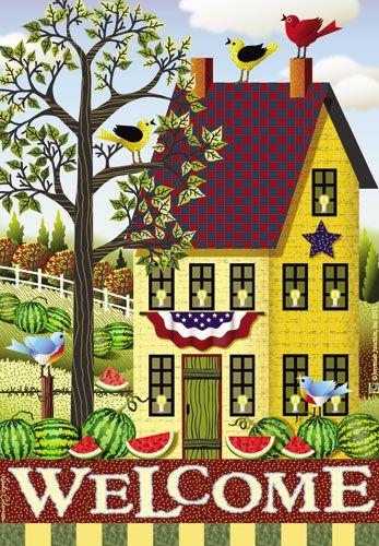 garden house flags. Jeremiah Junction Flag - Summer Salt Box House Decorative At Garden F GardenHouseFlags Flags N