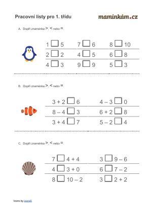 Pracovni Listy 1 Trida Matematika Pocitani Do 10 Vice Mene