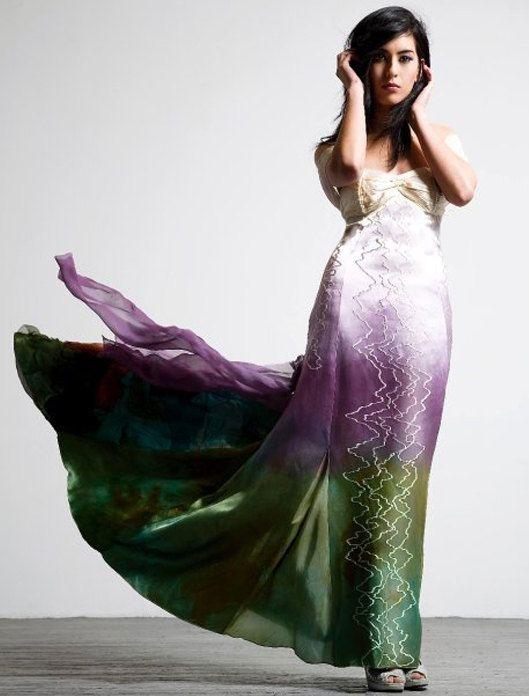 Ombre Silk Wedding Dress Grant Artistic Bridal Purple Dip Dyed