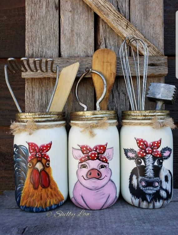 Individually sold Rooster, Cow, Pig mason jars, Utensil Holders