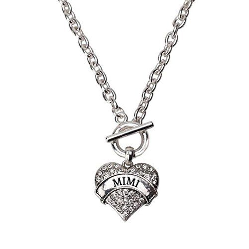Inspired Silver Mimi Pave Heart Toggle Necklace Clear Crystal Rhinestones ** Continue to the product at the image link. Note:It is Affiliate Link to Amazon.