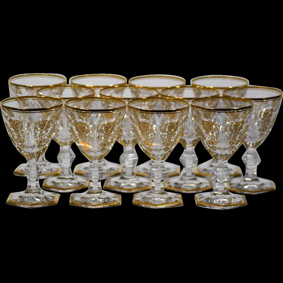 Barzubehör 12 baccarat gilded empire wine glasses
