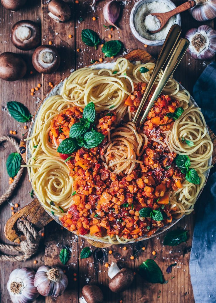 Lentil Bolognese With Spaghetti Vegan Easy