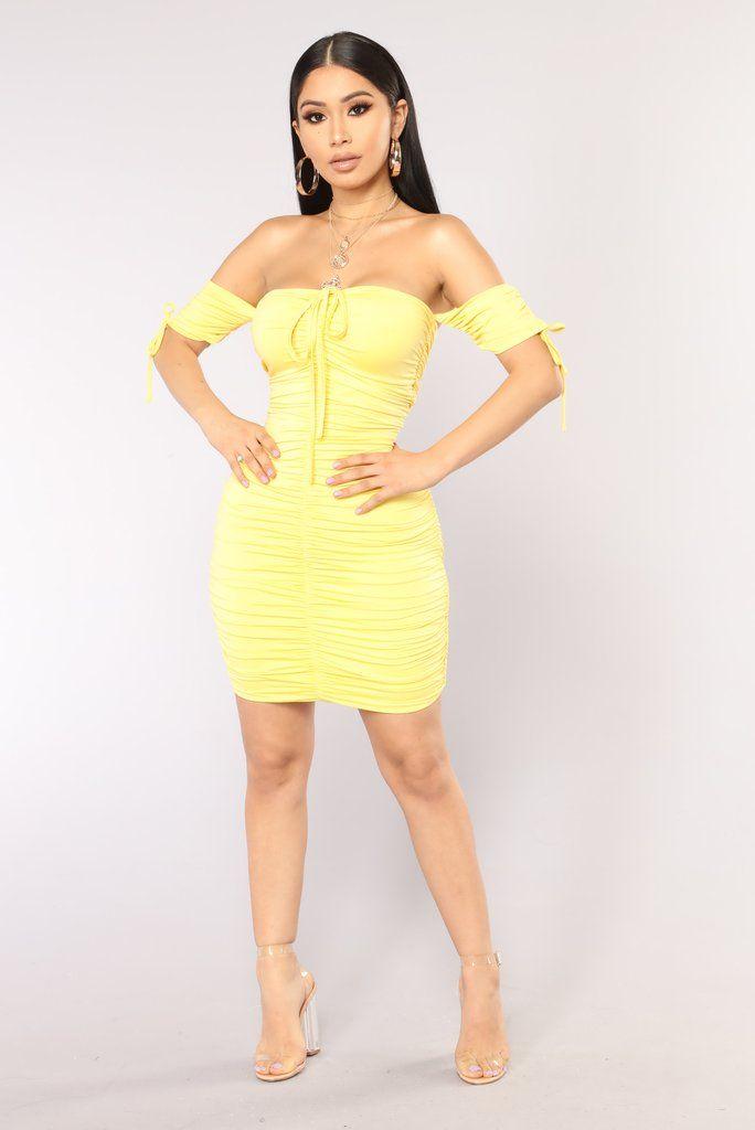 Sanya Ruched Dress , Yellow