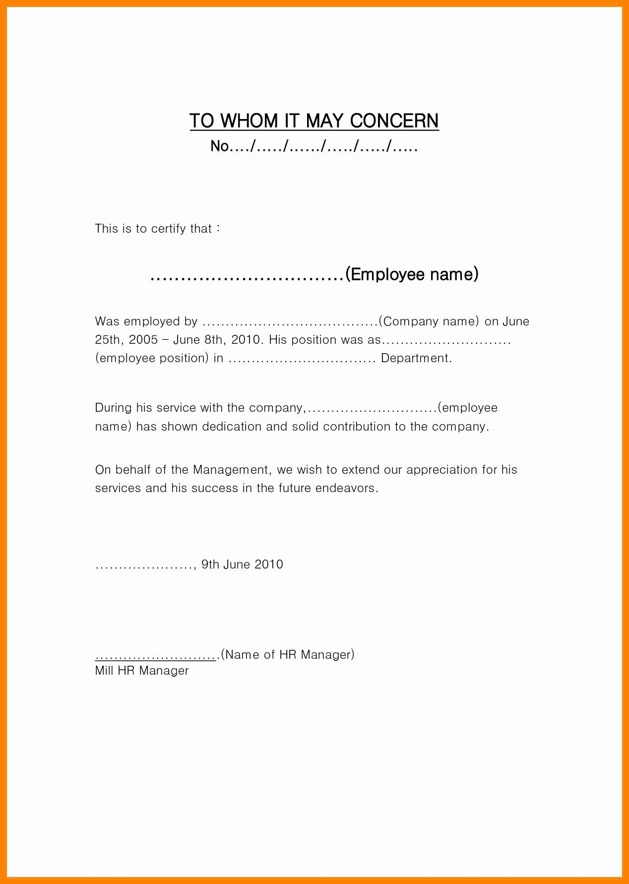 Employment Verification Letter Template Word New