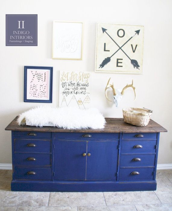 Farmhouse Style Navy Blue Distressed Dresser Buffet Changing
