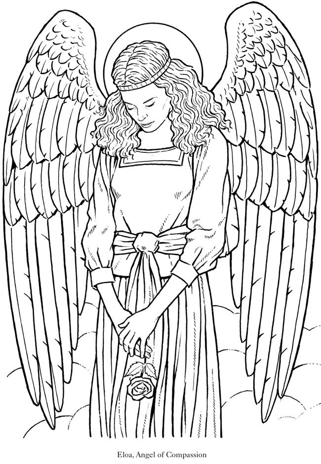 Glorious angel 5 from dover publications http www for Coloring page angel