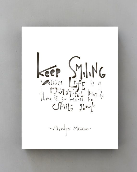 Keep Smiling Marilyn Monroe Quote Typography Black And White
