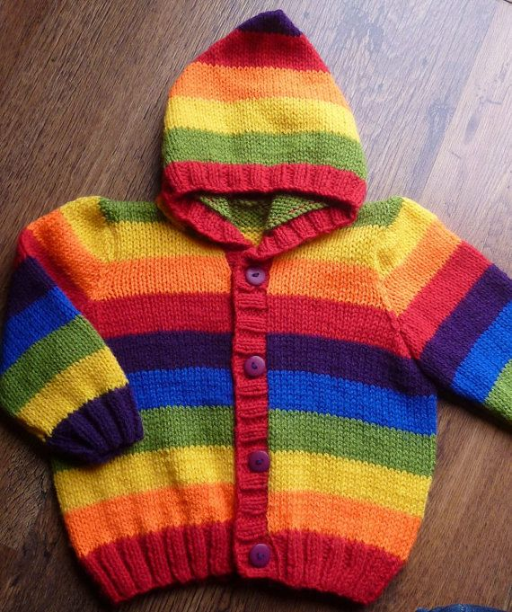452702204 Hand knitted Multi Striped Rainbow Baby Hooded Cardigan Jacket ...