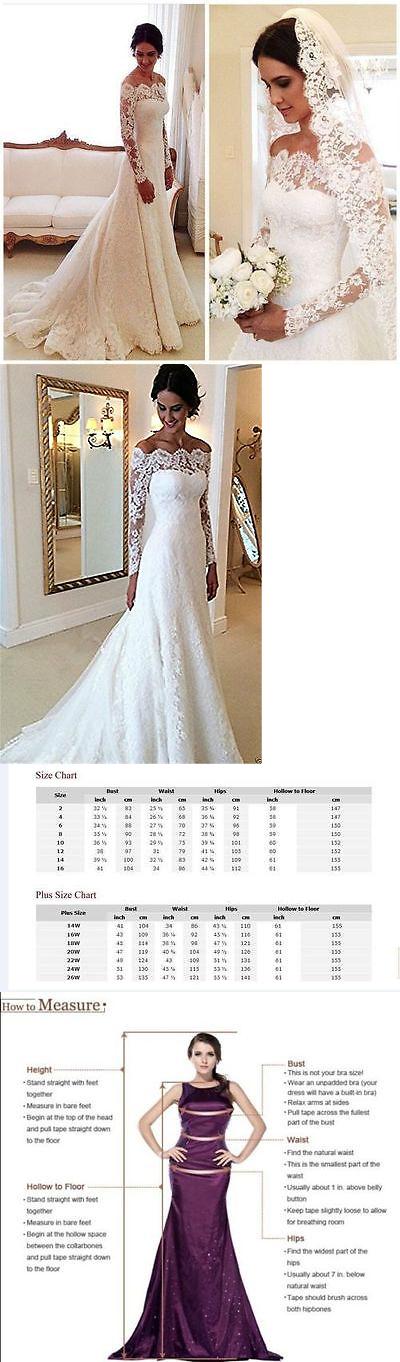 Wedding Dresses: White Ivory Long Sleeve Gown Bridal Wedding Dress Custom Size 4 6 8 10 12 14 16 BUY IT NOW ONLY: $47.49